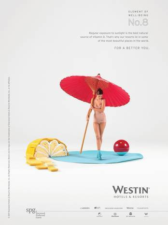 "Westin advertising campaign illustrating the ""Elements of Well Being."""