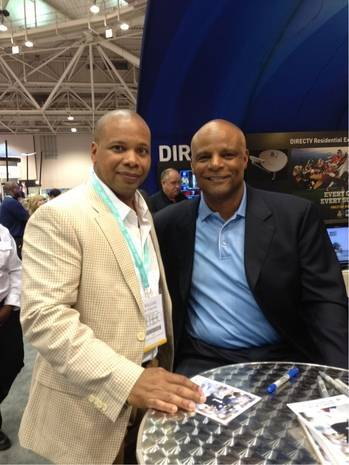 At HITEC 2013: Former NFL Star Warren Moon and New Yorker Hotel Information Technology Director, Will Reid.